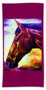 horse portrait PRINCETON wow purples Beach Towel