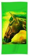 horse portrait PRINCETON yellow green Beach Towel