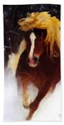 Horse Running In Snow Beach Towel