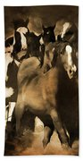Horse Stampede Art 08a Beach Towel