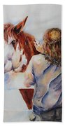 Horses And Children Painting Beach Towel