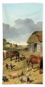 Horses Drinking From A Water Trough, With Pigs And Chickens In A Farmyard Beach Towel