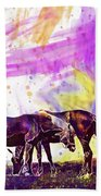 Horses Flock Pasture Animal  Beach Towel