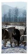 Horses In Front Of Quaggy Jo Beach Towel