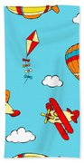 Hot Air Balloons And Airplanes Fly In The Sky Beach Towel