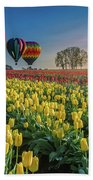 Hot Air Balloons Over Tulip Fields Beach Towel