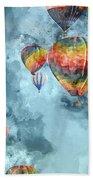 Hot Air Balloons Digital Watercolor On Photograph Beach Towel