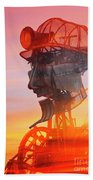 Hot And Steamy Man Engine Beach Towel