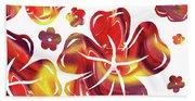 Hot Flowers Dancing Silhouettes Beach Towel