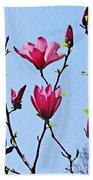 Hot Pink Magnolias Beach Towel