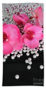 Hot Pink Orchids 2 Beach Towel