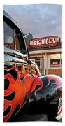 Hot Rod At The Diner At Sunset Beach Towel