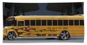 Hot Rod School Bus Beach Towel