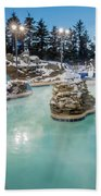 Hot Tubs And Ingound Heated Pool At A Mountain Village In Winter Beach Towel