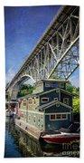 Houseboat And Aurora Bridge Seattle Beach Towel