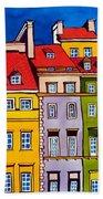 Houses In The Oldtown Of Warsaw Beach Towel