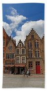 Houses Of Jan Van Eyck Square In Bruges Belgium Beach Towel