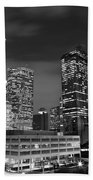 Houston By Night In Black And White Beach Towel