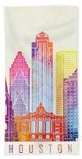 Houston Landmarks Watercolor Poster Beach Towel
