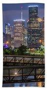 Houston Skyline Over Buffalo Bayou At Twilight Beach Towel