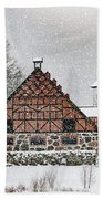 Hovdala Castle Gatehouse And Stables In Winter Beach Towel