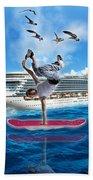 Hoverboarding Across The Atlantic Ocean Beach Sheet
