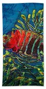 Hovering - Red Banded Wrasse Beach Towel