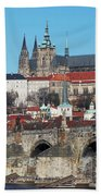 Hradcany - Cathedral Of St Vitus And Charles Bridge Beach Towel