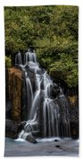 Hraunfossar In The Gloom Beach Towel