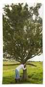 Hugging The Fairy Tree In Ireland Beach Towel