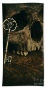 Human Skull With Vintage Key Beach Towel