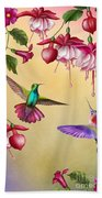 Humming Birds And Fuchsia-jp2784 Beach Towel
