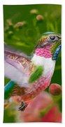 Hummingbird And Flower Painting Beach Towel