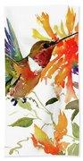 Hummingbird And Orange Flowers Beach Towel