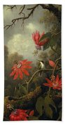 Hummingbird And Passionflowers Beach Towel