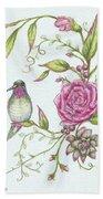 Hummingbird And Rose Beach Towel