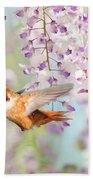 Hummingbird At Wisteria Beach Towel