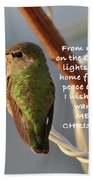 Hummingbird Christmas Card Beach Towel