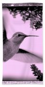 Hummingbird With Old-fashioned Frame 2  Beach Towel