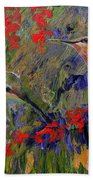 Hummingbirds 2, Abstract Art Beach Towel