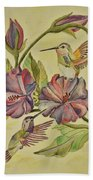 Hummingbirds And Hibiscus Beach Towel