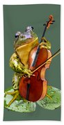 Humorous Scene Frog Playing Cello In Lily Pond Beach Towel