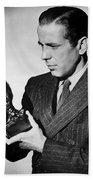 Humphrey Bogart Holding Falcon The Maltese Falcon 1941  Beach Towel
