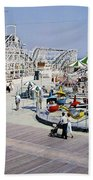 Hunts Pier On The Wildwood New Jersey Boardwalk, Copyright Aladdin Color Inc. Beach Towel
