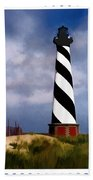 Hurricane Coming At Cape Hatteras Lighthouse Beach Towel