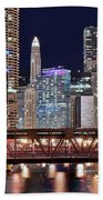 Hustle And Bustle Night Lights In Chicago Beach Towel