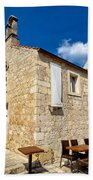 Hvar Old Stone Church And Antic Steps Beach Towel