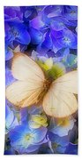 Hydrangea With White Butterfly Beach Towel