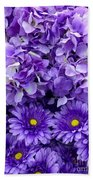 Hydrangeas And Daisies So Purple Beach Towel