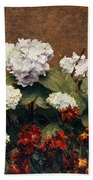 Hydrangeas And Wallflowers And Two Pots Of Pansies Beach Towel